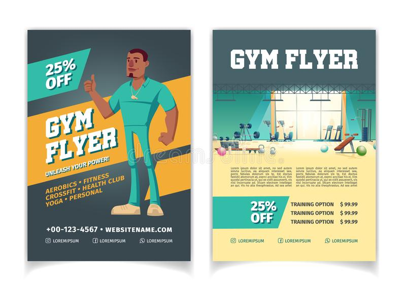 Sport club gym cartoon vector flyer template. Sport club, fitness center, bodybuilding gym cartoon vector price off, discounts advertising flyer pages template royalty free illustration