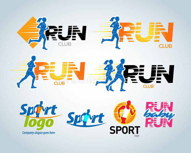 Sport club, running club vector labels and emblems, logotypes, badges. Apparel, t-shirt design concepts. Vector illustration. stock illustration