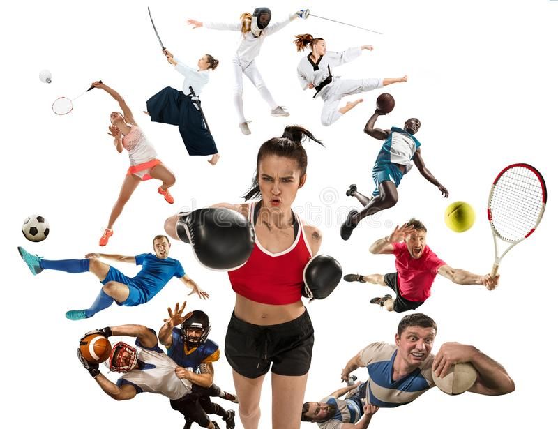 Sport collage about kickboxing, soccer, american football, basketball, badminton, taekwondo, tennis, rugby. Attack. Sport collage about kickboxing, soccer stock images