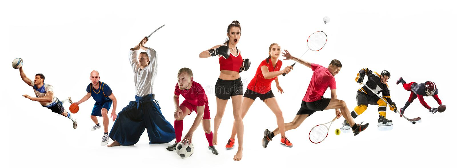 Sport collage about kickboxing, soccer, american football, basketball, ice hockey, badminton, aikido, tennis, rugby. Attack. Sport collage about kickboxing stock photo