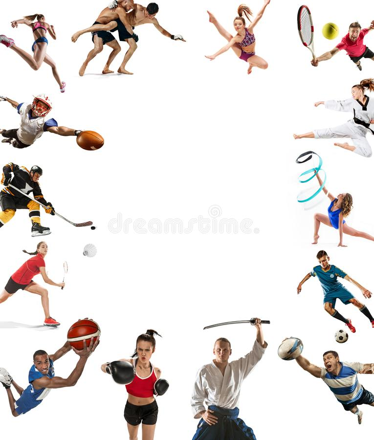 Sport collage about kickboxing, soccer, american football, basketball, ice hockey, badminton, taekwondo, tennis, rugby. Attack. Sport collage about kickboxing royalty free stock photography