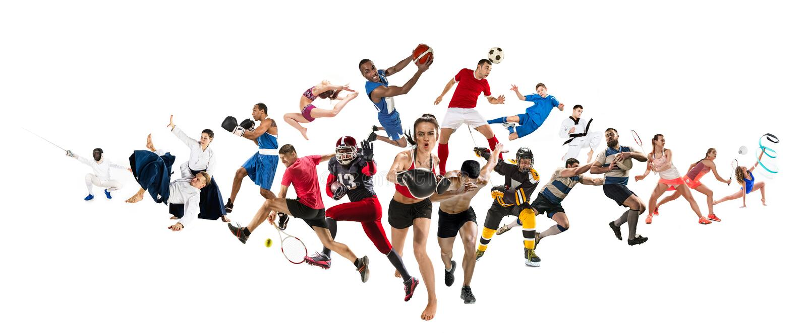 Sport collage about kickboxing, soccer, american football, basketball, ice hockey, badminton, taekwondo, tennis, rugby royalty free stock images