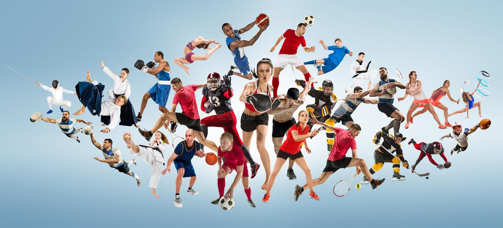Sport collage about kickboxing, soccer, american football, basketball, ice hockey, badminton, taekwondo, tennis, rugby. Attack. Sport collage about kickboxing royalty free stock photos