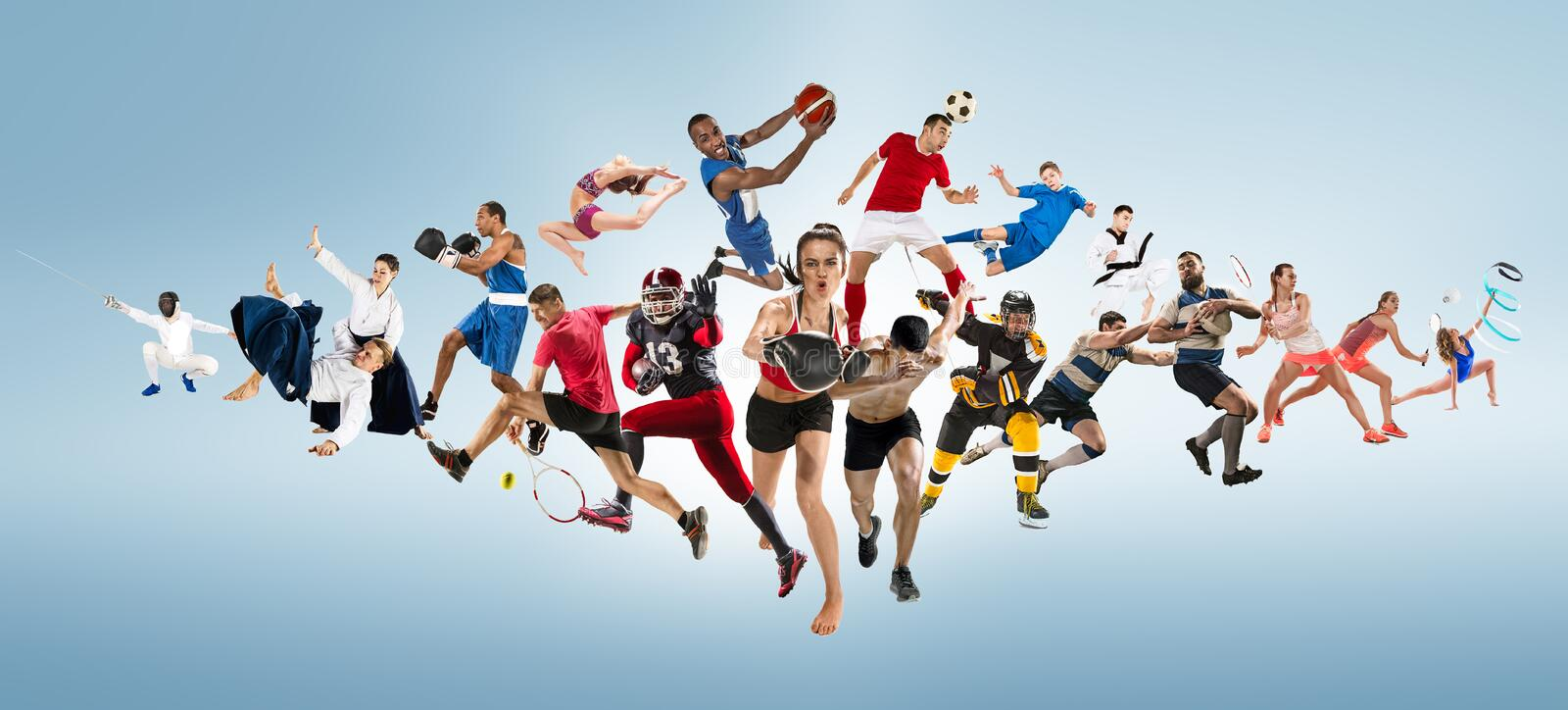 Sport collage about kickboxing, soccer, american football, basketball, ice hockey, badminton, taekwondo, tennis, rugby stock image