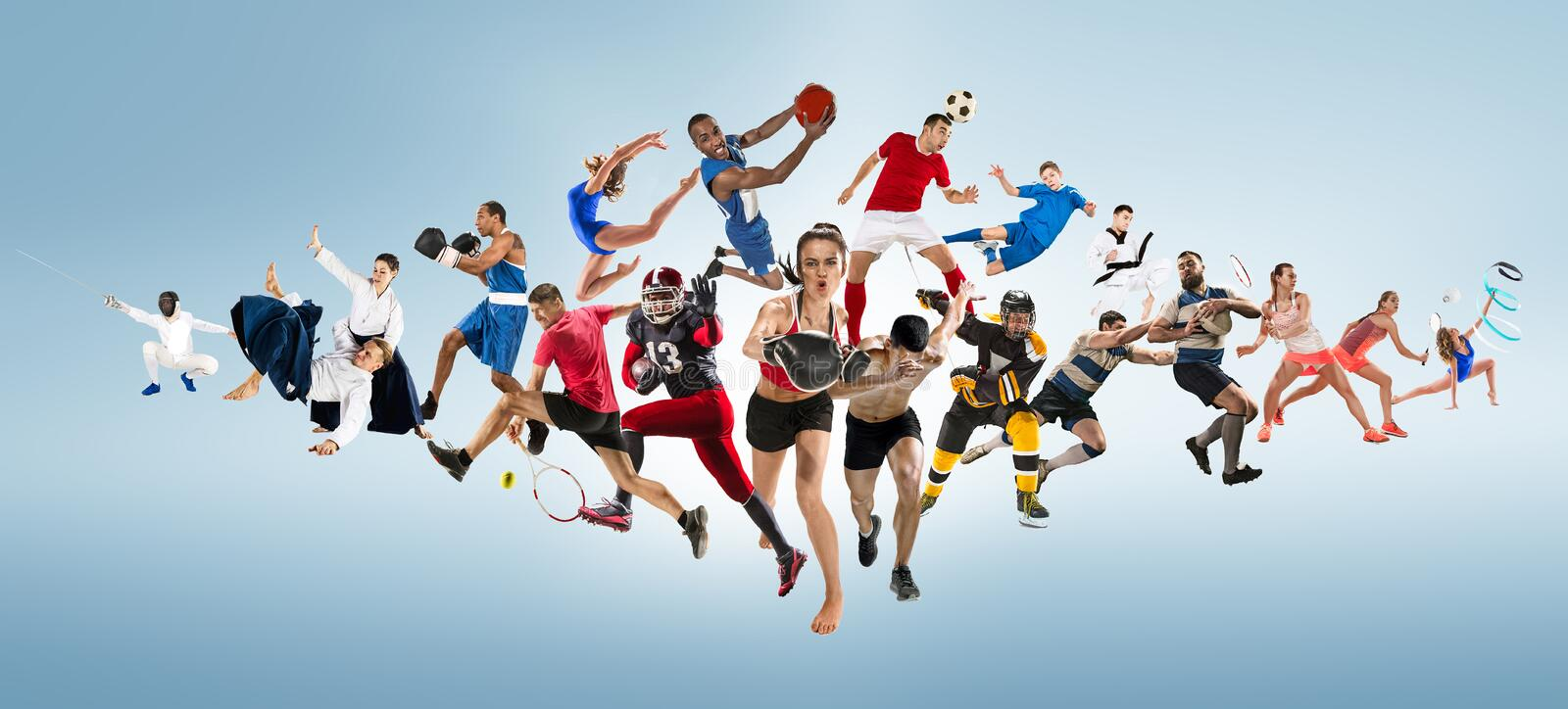 Sport collage about kickboxing, soccer, american football, basketball, ice hockey, badminton, taekwondo, tennis, rugby. Attack. Sport collage about kickboxing stock photo