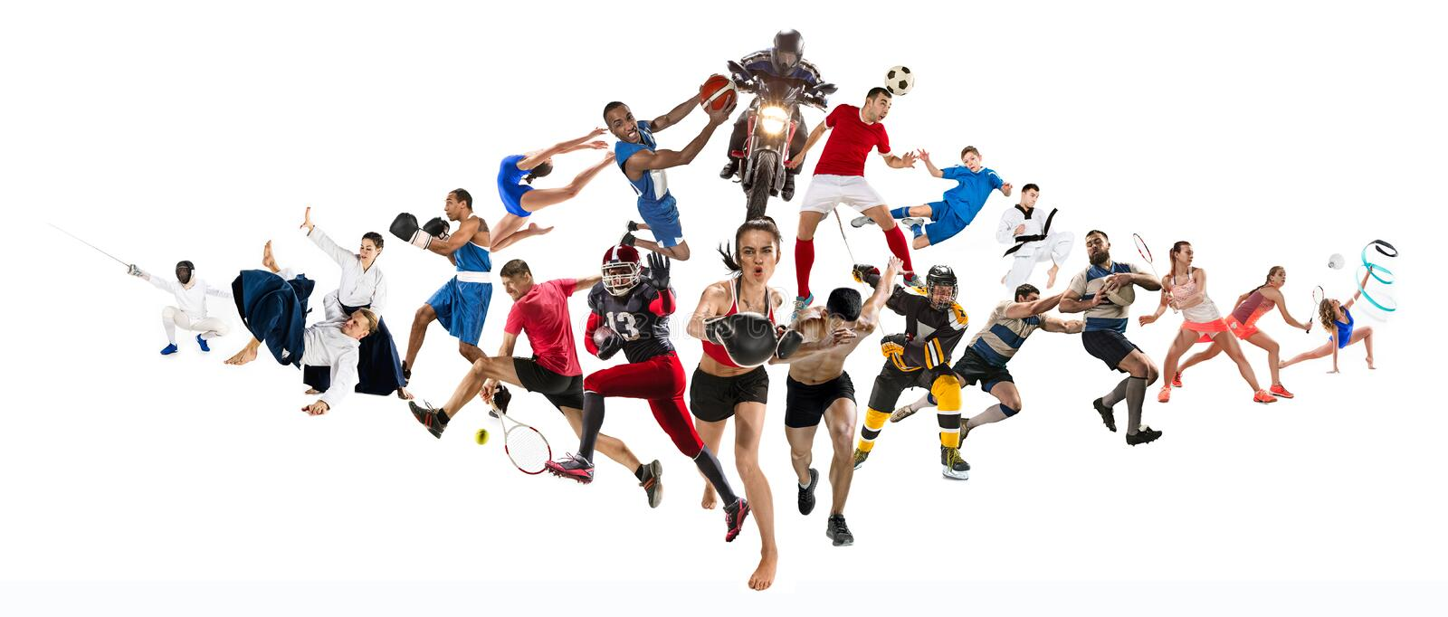 Sport collage about kickboxing, soccer, american football, basketball, ice hockey, badminton, taekwondo, tennis, rugby. Attack. Sport collage about kickboxing royalty free stock images