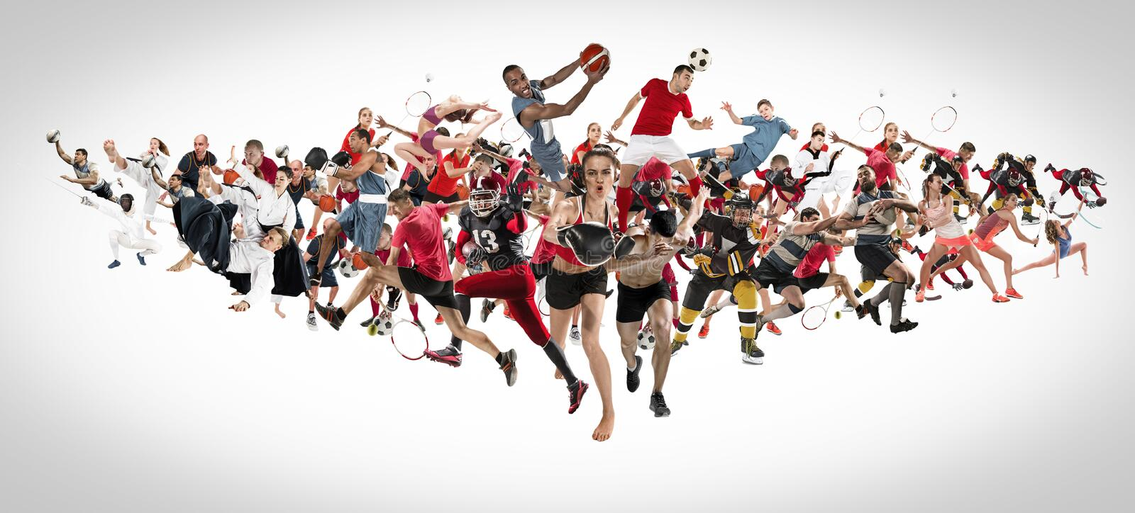 Sport collage about kickboxing, soccer, american football, basketball, ice hockey, badminton, taekwondo, tennis, rugby royalty free stock image