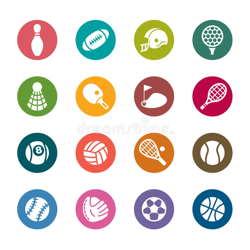 Sport Color Icons. A collection of different kinds of sport color icons. It contains hi-res JPG, PDF and Illustrator 9 files royalty free illustration