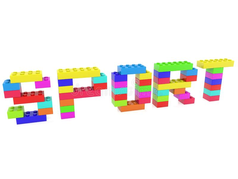 SPORT concept of color toy bricks on white stock illustration