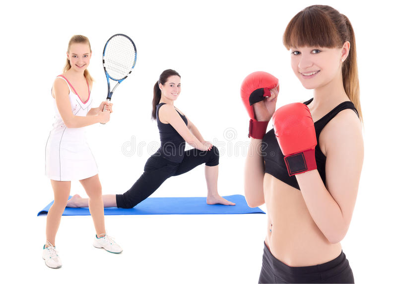 sport concept - female tennis player, female boxer and woman doing yoga isolated on white stock image