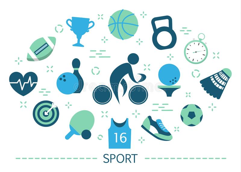 Sport concept. Idea of doing various activity. Golf. And volleyball, award for competition. Set of colorful icons. Isolated flat vector illustration vector illustration