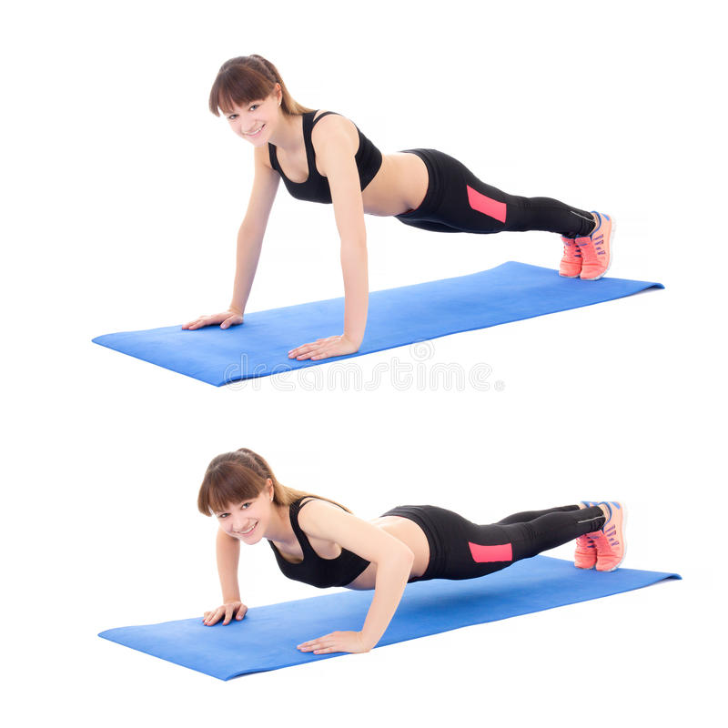 Sport concept, push up instruction - young woman doing push up e. Xercise isolated on white background stock images
