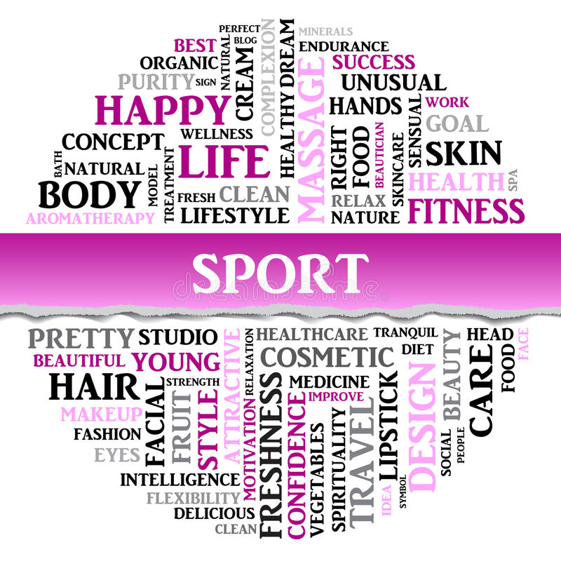 SPORT concept related words in tag round cloud, vector. SPORT concept related words in tag round cloud with different association sport and fitness terms. The vector illustration
