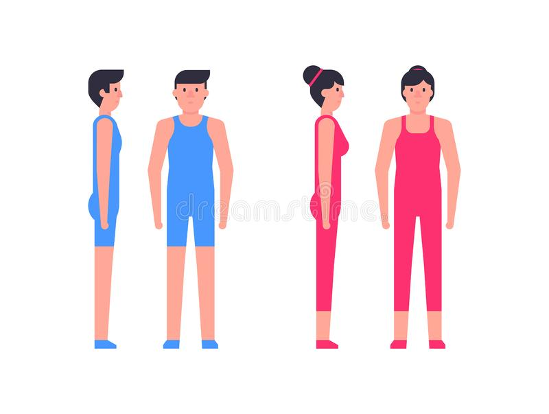 Sport couple man and woman. Man and woman of fitness in sportswear royalty free illustration