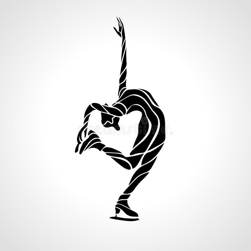 Sport d'hiver Chiffre patinage de dames Spectacle sur glace illustration stock