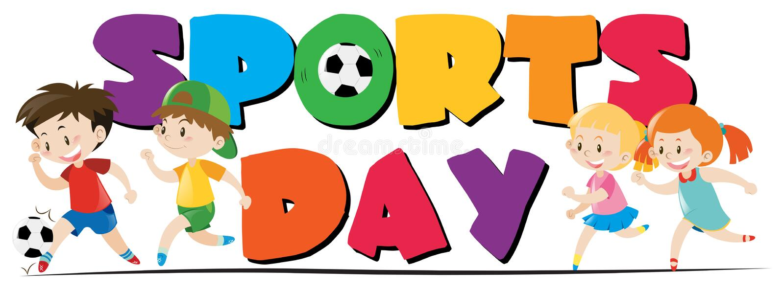 Sport day theme with kids playing sports vector illustration