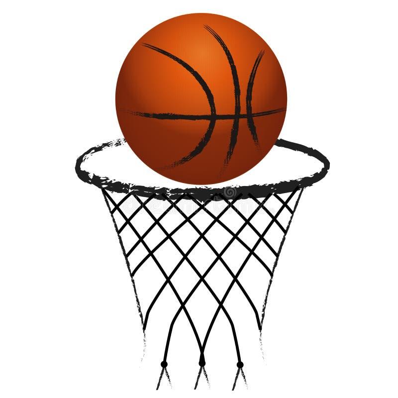 Sport de basket-ball avec le logo net grunge illustration de vecteur