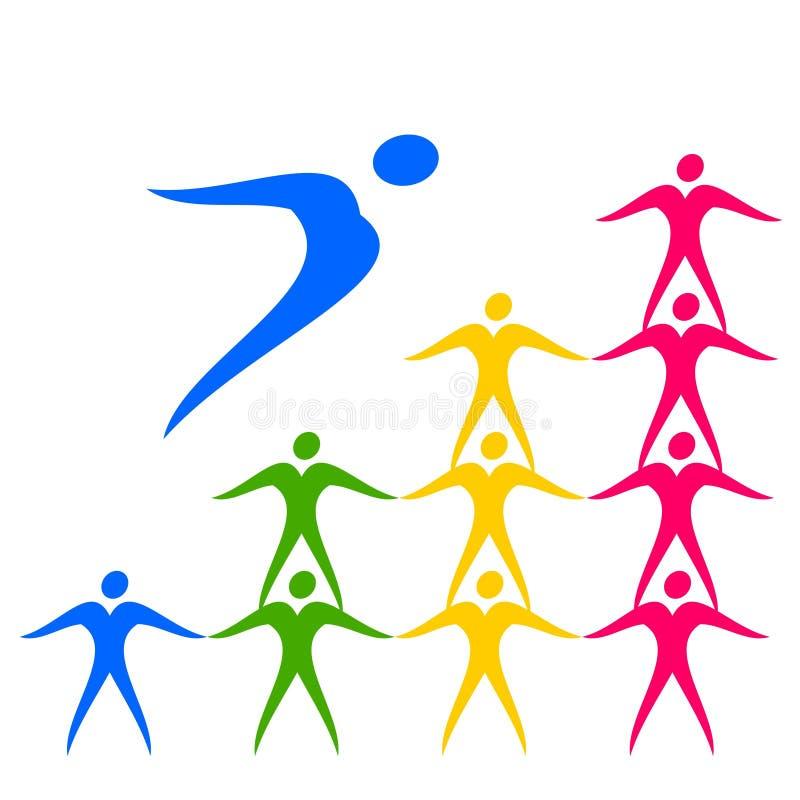 Sport de dessin de programme de logo jusqu'au dessus, à la victoire illustration libre de droits