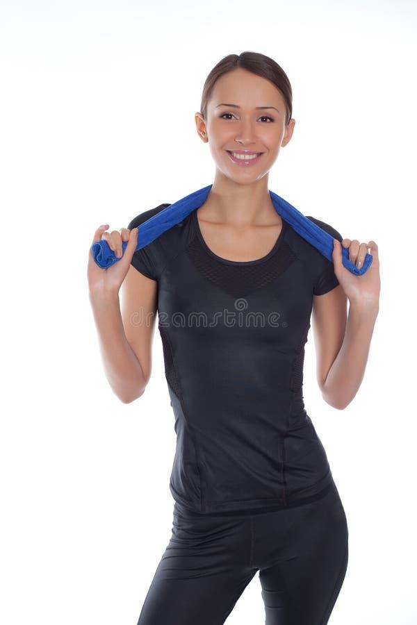 Sport de femme sur un blanc photo stock