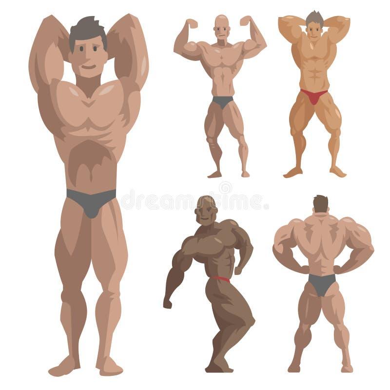 Sport de pose modèle de bodybuilding d'homme de caractères de vecteur de sportif de Bodybuilder d'athlets forts masculins barbus  illustration stock
