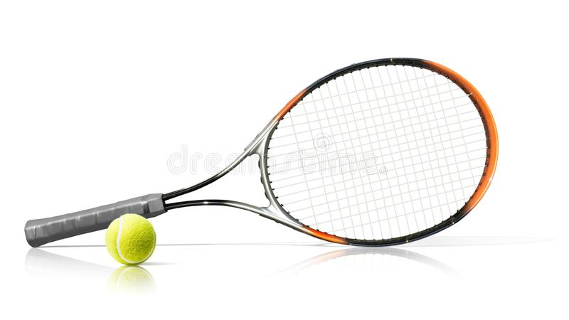 Sport De racket en de bal van het tennis Geïsoleerd op de witte achtergrond stock afbeeldingen