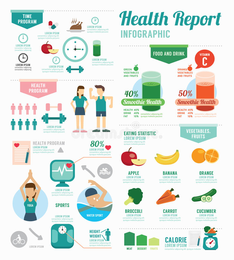 Sport de santé d'Infographic et conception de calibre de bien-être Concept illustration stock