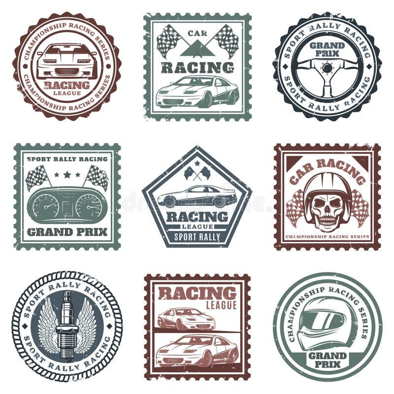 Sport de voiture de vintage emballant des timbres réglés illustration stock