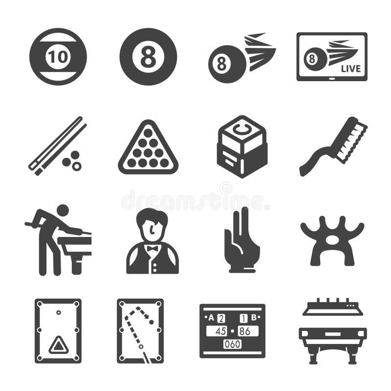Sport dello snooker ed insieme dell'icona di ricreazione illustrazione vettoriale
