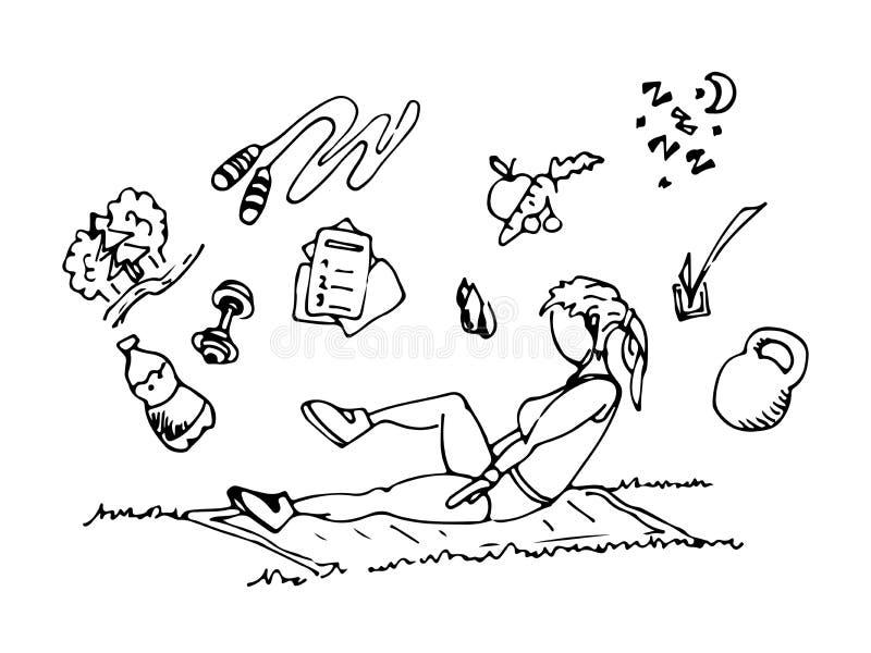 Sport in der Natur E r Auch im corel abgehobenen Betrag Hand gezeichnet vektor abbildung
