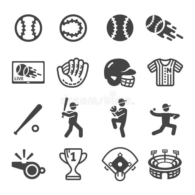 Sport di baseball ed insieme dell'icona di ricreazione illustrazione vettoriale