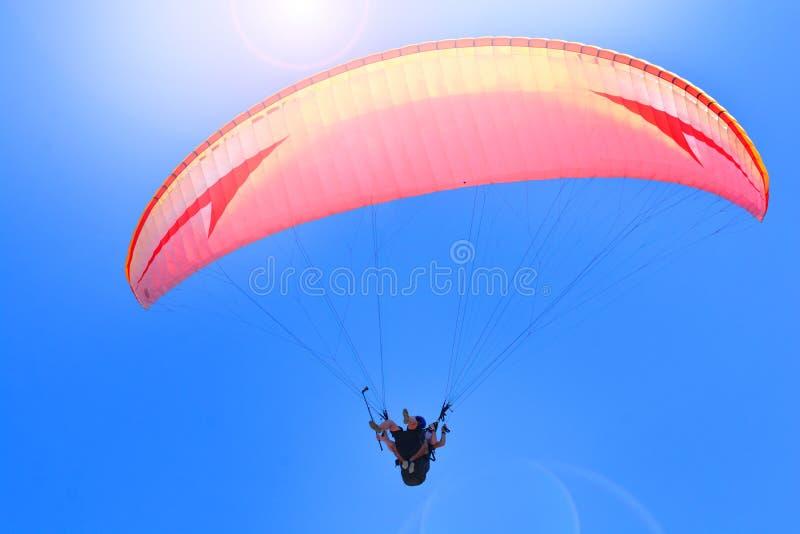 Sport di estremo di parapendio Alianti che volano insieme su un fondo del cielo immagini stock libere da diritti