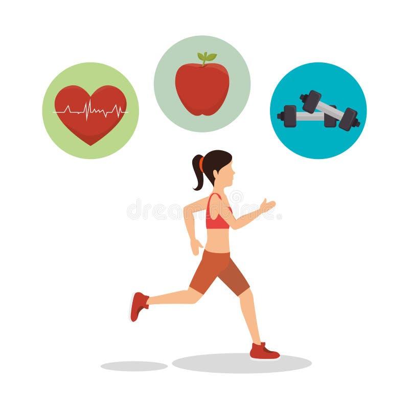 sport di forma fisica dell'avatar dell'atleta della donna illustrazione vettoriale