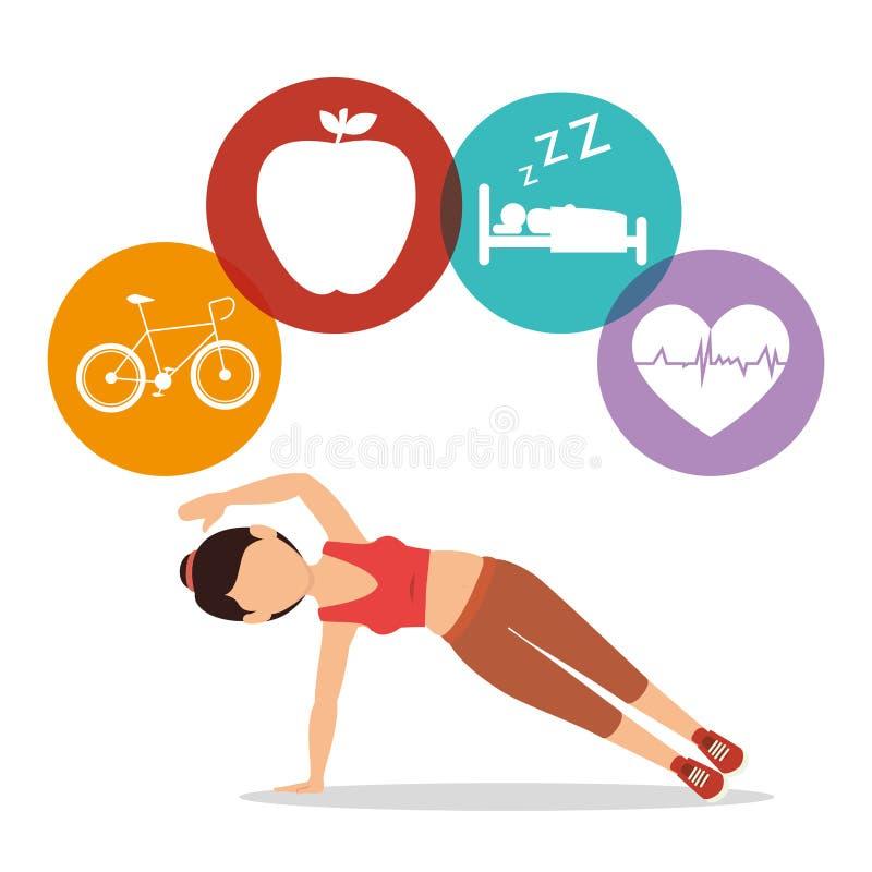 sport di forma fisica dell'avatar dell'atleta della donna illustrazione di stock