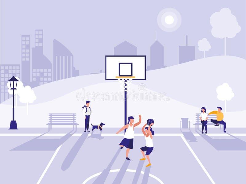Sport di pratica della gente nel campo di pallacanestro illustrazione vettoriale