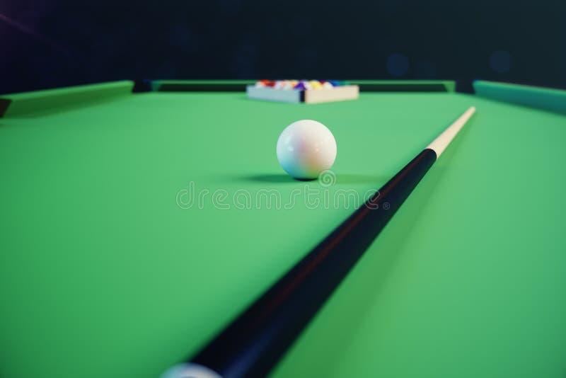 sport di ricreazione dell'illustrazione 3D Palle di biliardo con la stecca sulla tavola di biliardo verde Concetto di sport del b illustrazione vettoriale