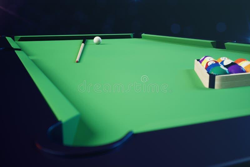 sport di ricreazione dell'illustrazione 3D Palle di biliardo con la stecca sulla tavola di biliardo verde Concetto di sport del b illustrazione di stock