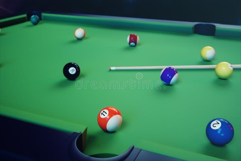 sport di ricreazione dell'illustrazione 3D Palle di biliardo con la stecca sulla tavola di biliardo verde Concetto di sport del b royalty illustrazione gratis