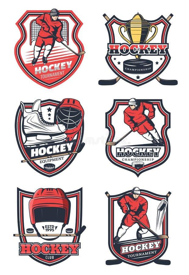 Sport di squadra del hockey su ghiaccio, icone di vettore illustrazione vettoriale