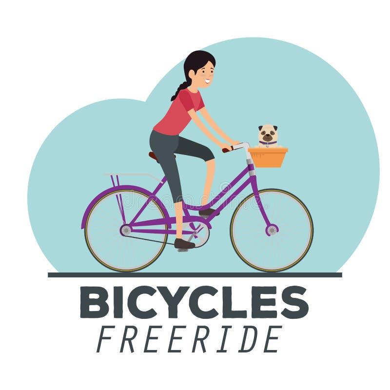 Sport di stile di vita della bicicletta di giro della donna royalty illustrazione gratis
