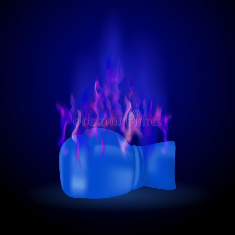 Sport die Blauwe Handschoen met Brandvlam branden vector illustratie