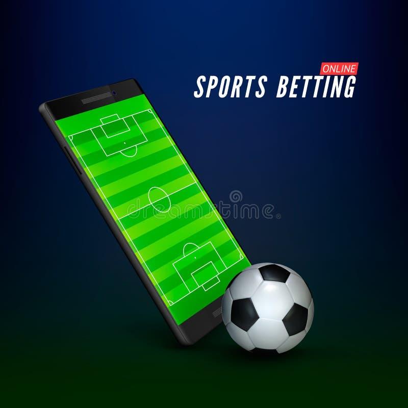 Sport die online bannerconcept wedden app online weddenschap op voetbal Mobiele telefoon met voetbalgebied op het scherm en reali royalty-vrije illustratie
