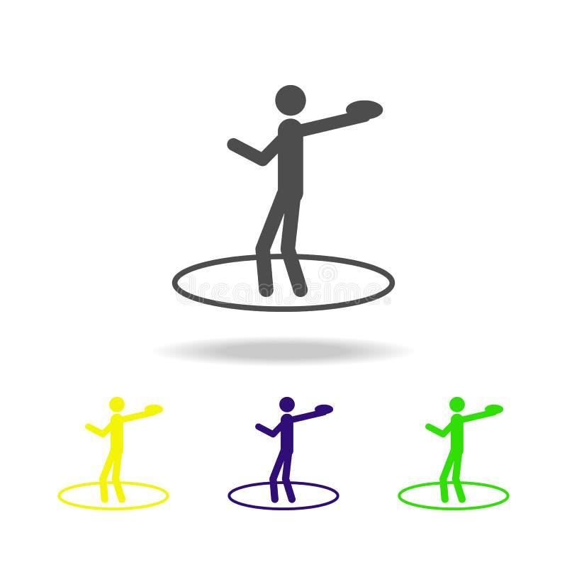 sport die schijf multicolored pictogrammen werpen Het element van sport multicolored pictogrammen kan voor Web, embleem, mobiele  vector illustratie
