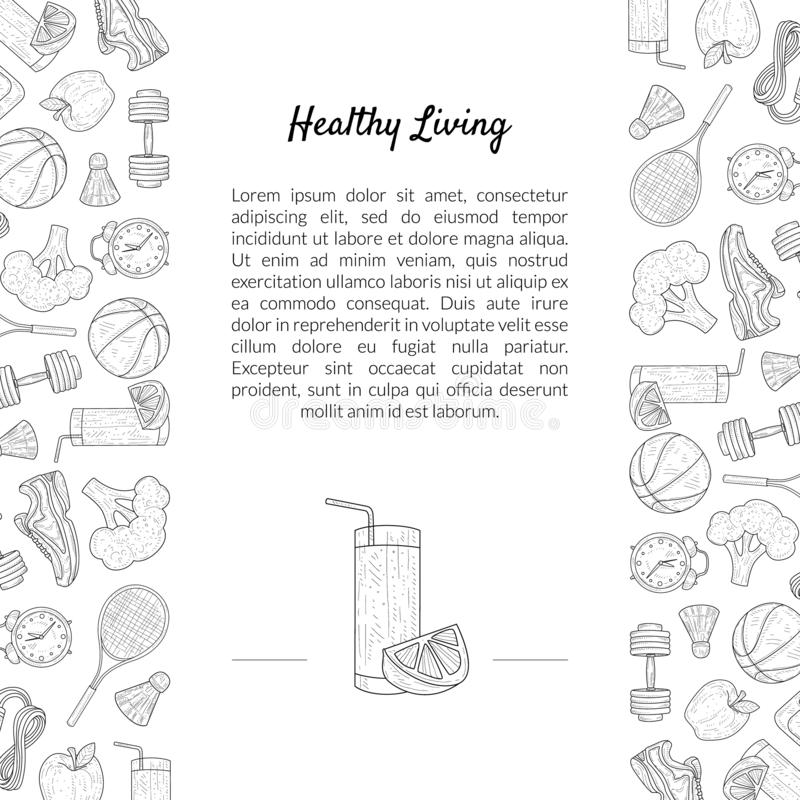 Sport and Diet Banner Template with Place for Text, Healthy Lifestyle, Sports and Fitness Objects Hand Drawn Vector. Sport and Diet Banner Template with Place vector illustration
