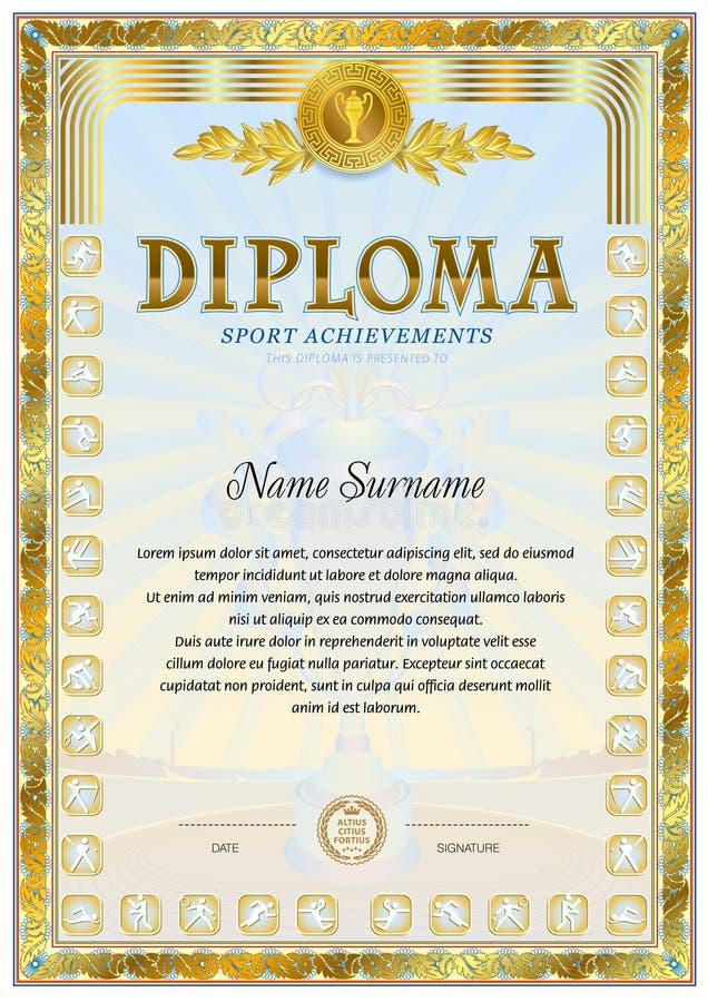 sport diploma blank template stock vector illustration of honor   sport diploma blank template stock vector illustration of honor embellish 96253592