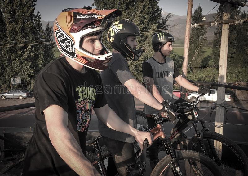 Slope Style Riders MTB about to drop in. royalty free stock images