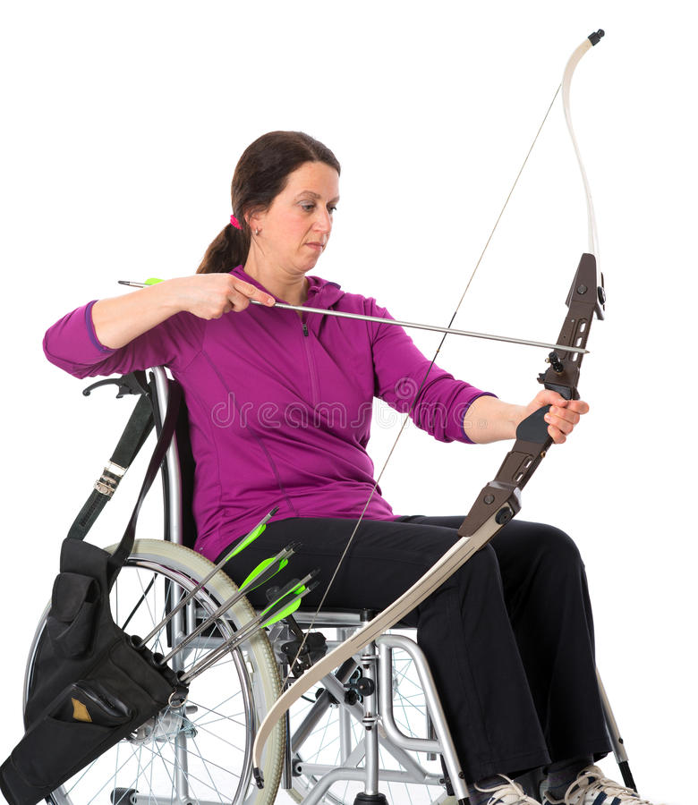 Sport disabili con l'arco fotografia stock libera da diritti
