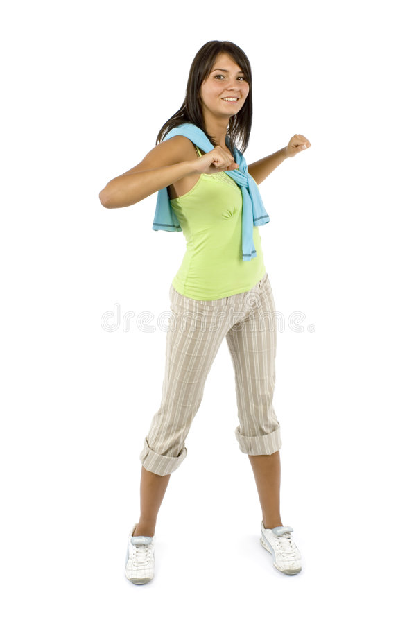 Sport dressed woman does exercise. Isolated sport dressed woman does exercise stock photo