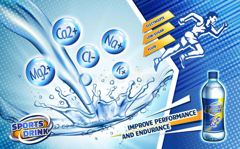 Sport drink ad. Colorful sport drink ad, with a sprinting man logo and water flow, 3d illustration vector illustration