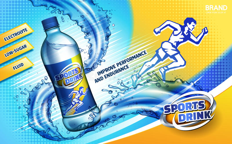 Sport drink ad. Colorful sport drink ad, with a sprinting man logo and water flow, 3d illustration stock illustration