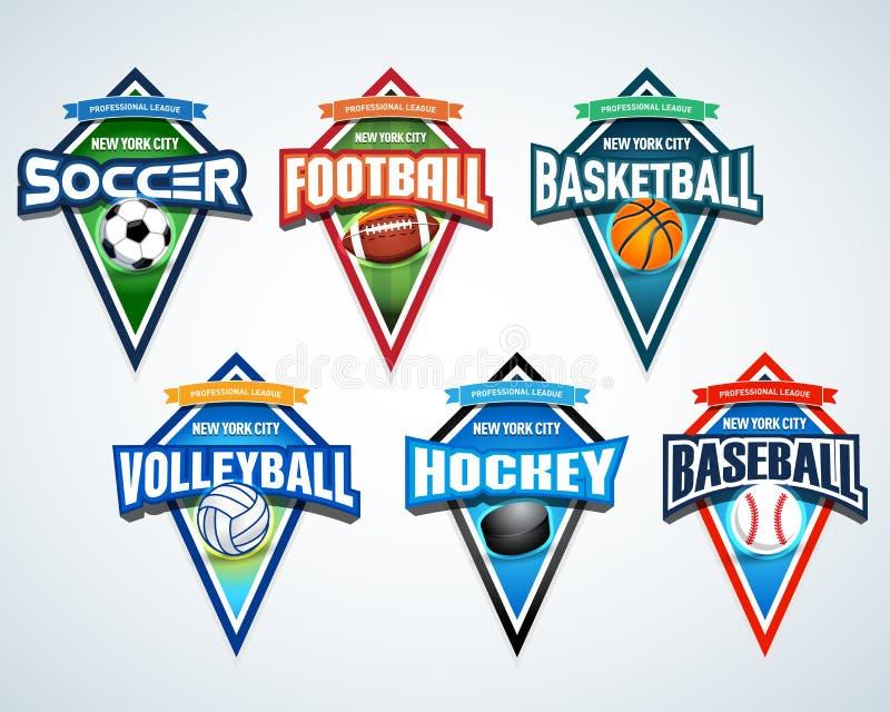 Sport drużyny loga emblematy, odznaka, koszulki odzieży projekta szablony ustawiający Piłka nożna, futbol amerykański, koszykówka ilustracji